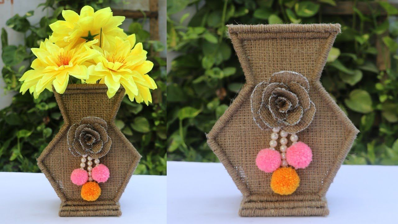 Handmade Home Decoration Craft Idea Handmade Things Diy Flower Pot Flower Vase Diy Diy Flower Pots Diy Flowers