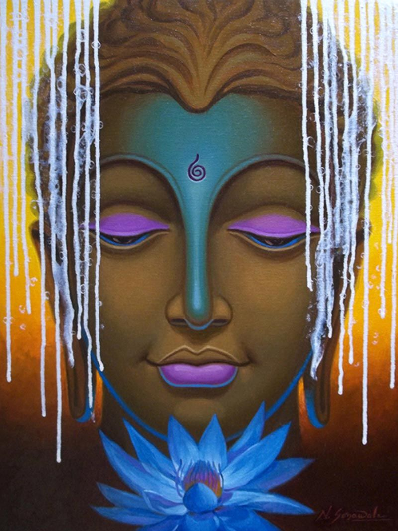 Buddha paintings by indian artists google search for Buddha mural paintings