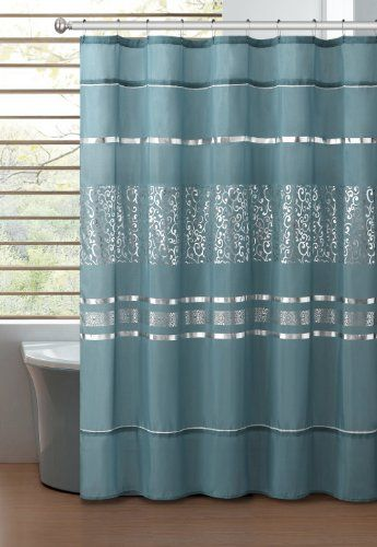 Dusty Blue Fabric Shower Curtain With Printed Metallic Silver Scroll  Design, Faux Silk Victoria Classics