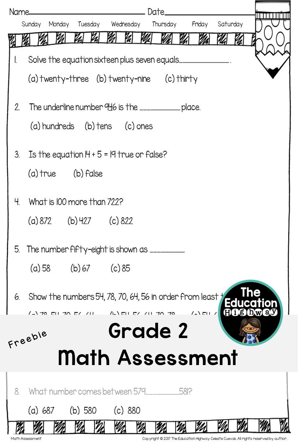 Math Assessment For Grade 2 Freebie 24 Multiple Choice Questions The Education Highway Math Assessment Education Quotes Math Multiple choice questions on addition