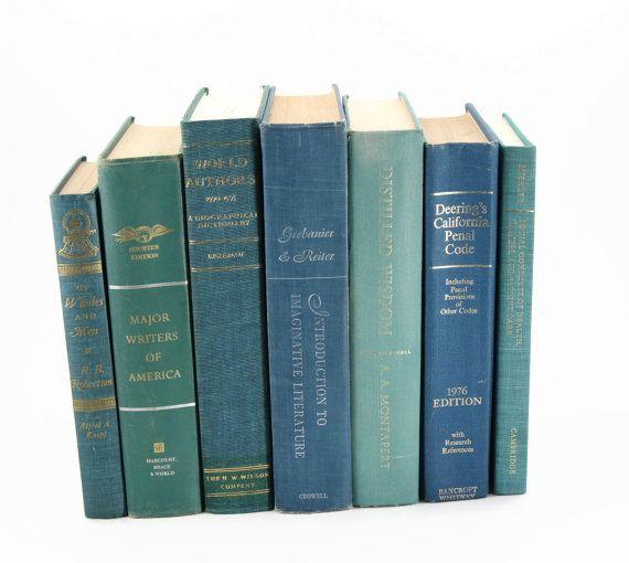 Teal Vintage Book Set Interior Design Decor Sea Green Blue Fome Books