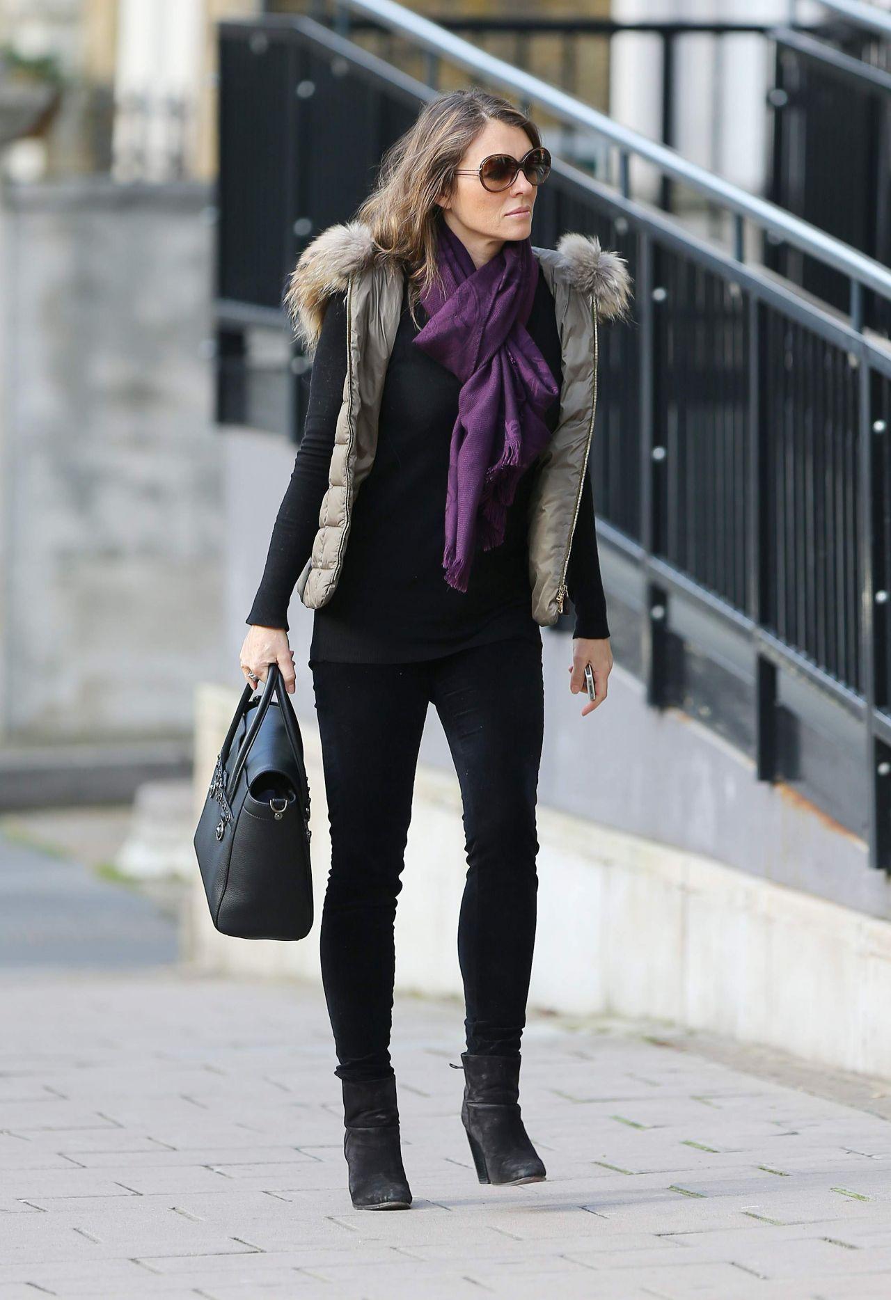 elizabeth hurley street style � london february 2014