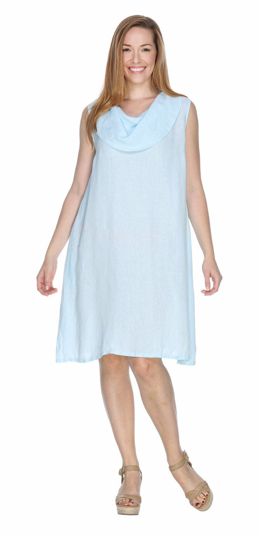 ce3253e3cd Match Point Linen Sleeveless Cowl Neck Mid Length Dress HLD455 ...