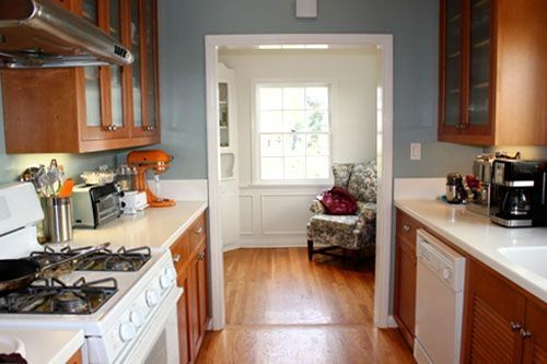 Darker Cabinets Lighter Oak Floor Blue Gray Walls Brown