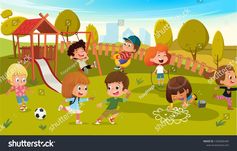 Kids Play Park Playground Vector Illustration Children Swing Outdoor In Summer School Kindergarten Cit Cartoon Park Character Activities Boy And Girl Cartoon