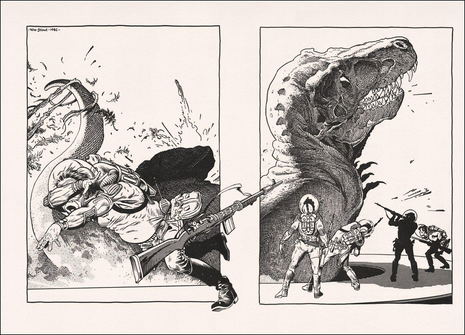 William Stout, illustration Ray Bradbury's Dinosaur Tales