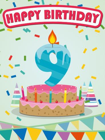Happy 9th Birthday Card Turning Nine And Feeling Fine Rainbow