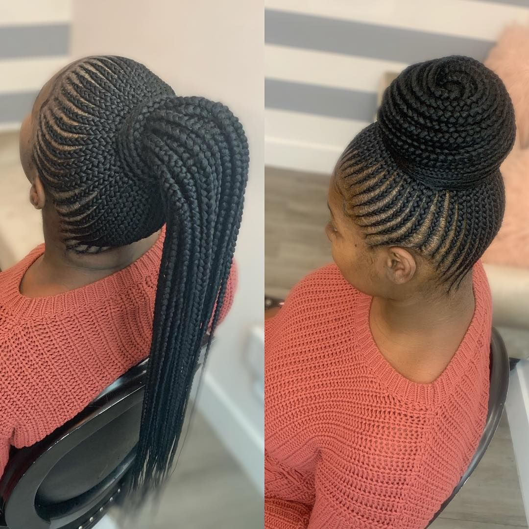 Xia Charles On Instagram Which Hairstyle Do You Think She Left The Chair With Bun Or Ponytail Cornrow Hairstyles Hair Styles African Hair Braiding Styles