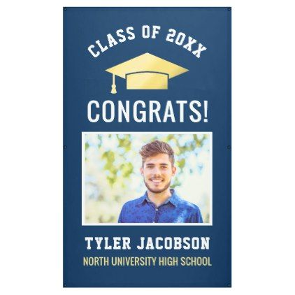 Graduation Party Class of 2018 Navy and Gold Banner - graduation
