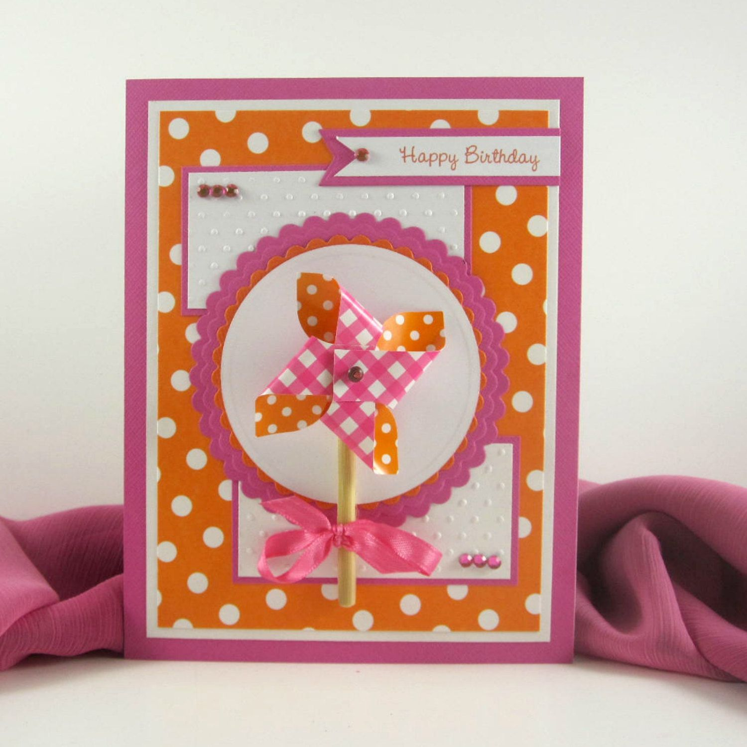 Birthday card pinwheel personalized card for girl children birthday card pinwheel personalized card for girl children women woman bookmarktalkfo Images