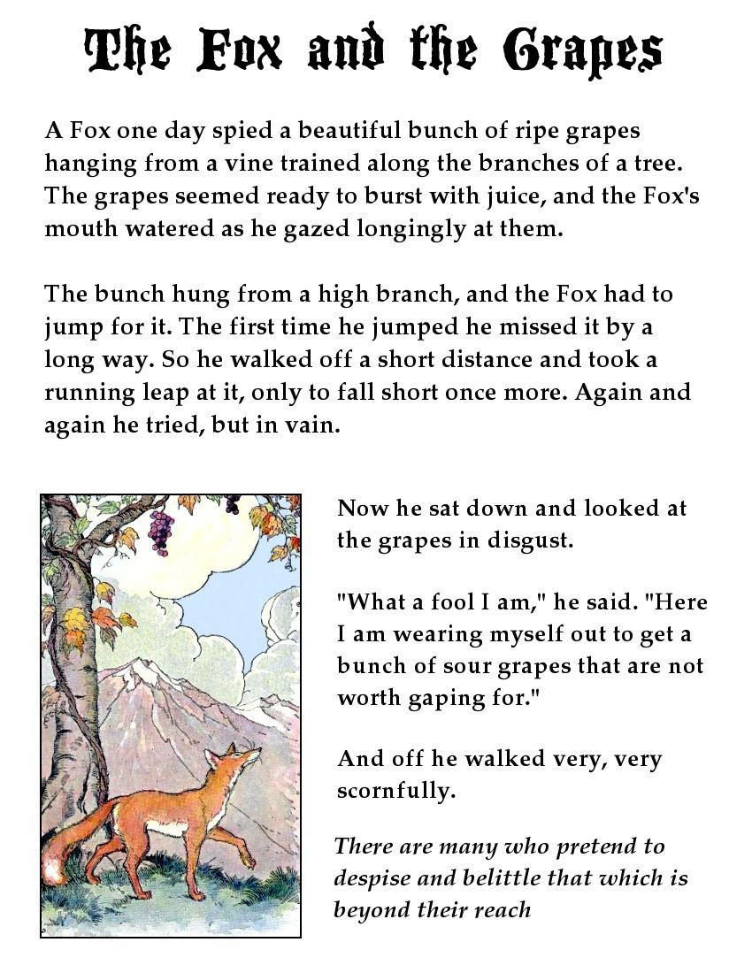 Fox And The Grapes Page Aesop S Fables For Kids Fables For Kids English Stories For Kids