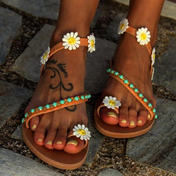 50e98d15002d Shoes - 2018 Summer Ladies Handmade Sweet Flower Ankle Strap Flip-flop –  Kaaum