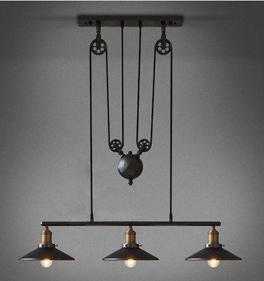 Vintage Rh Loft Pulley Pendant Lights Adjustable Wire Lamps