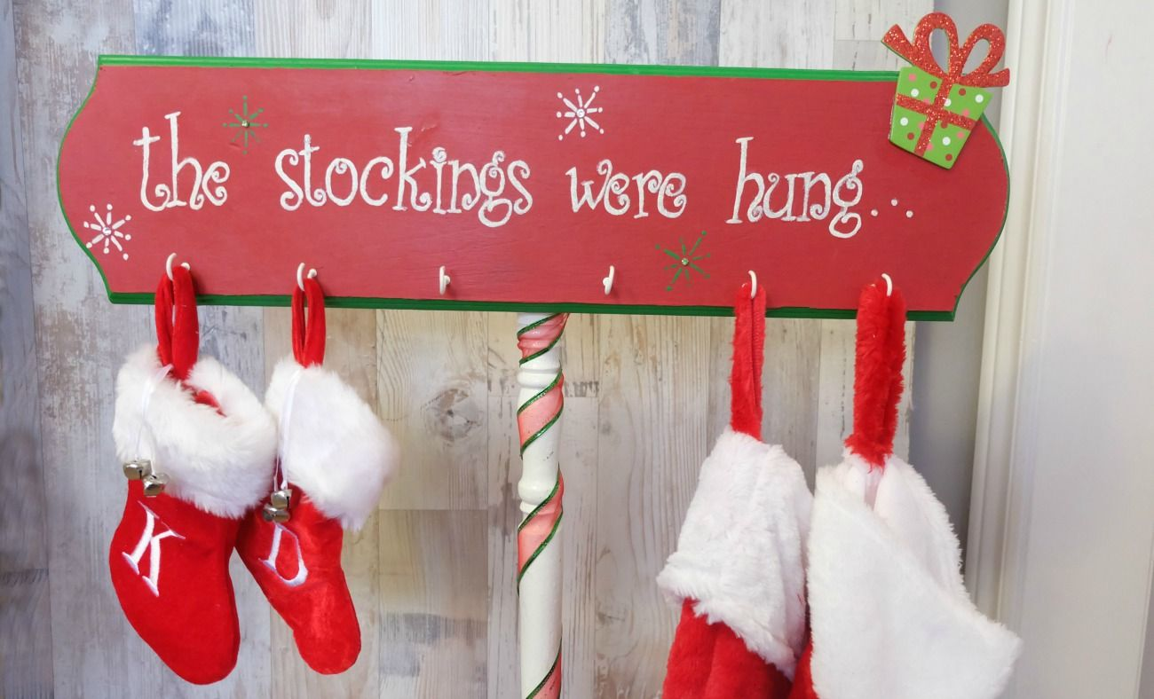 This DIY Christmas Stocking Holder is a standalone wooden