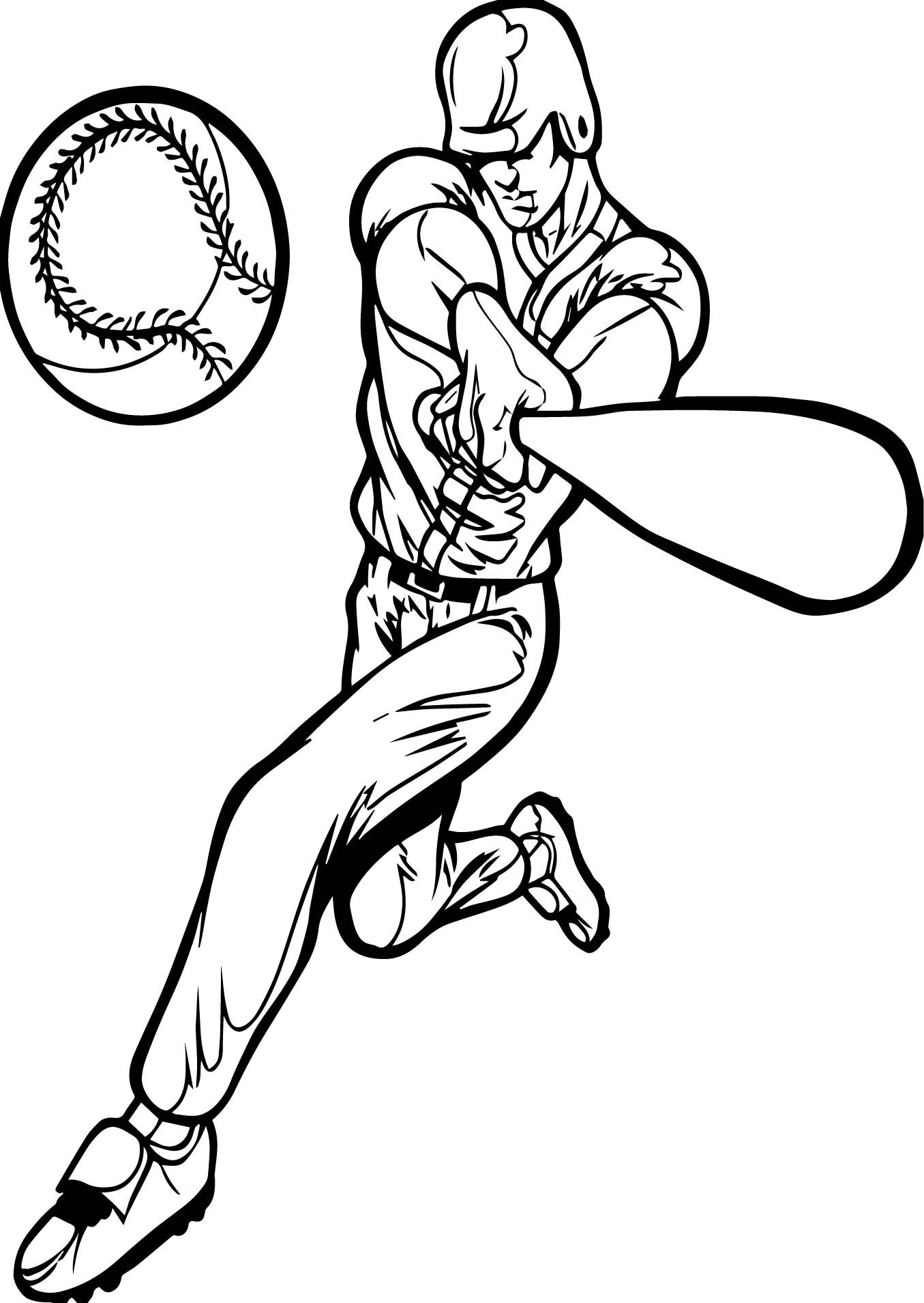 Nice Perfect Playing Baseball Man Coloring Page