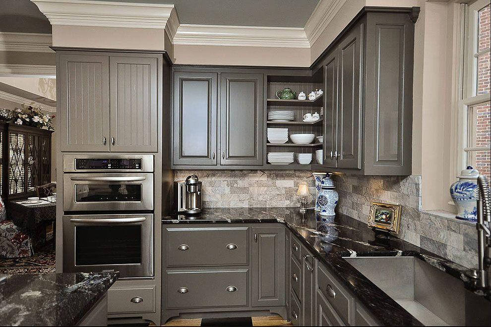 Black Granite Countertop And Dark Gray Kitchen Cabinets Kitchen Cabinet Design Grey Kitchen Cabinets Grey Kitchens