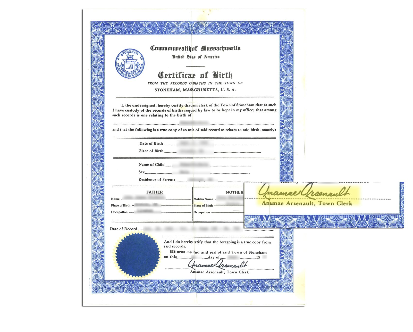 Town Of Stoneham State Of Massachusetts Birth Certificate Signed By