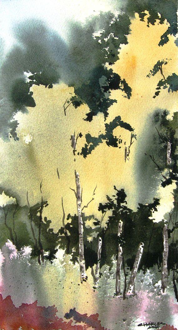 little aspen grove iii original watercolor painting art