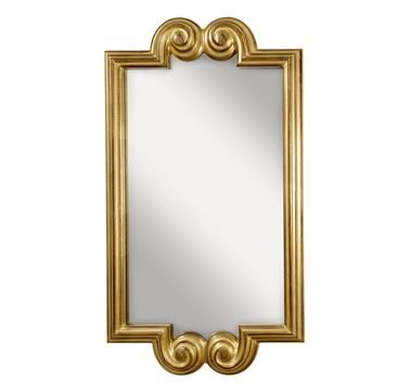 "*****Good size for room (approx.  4 x 2 feet) and good price ($199)   Feiss Melanie 45 1/4"" x 24"" Mirror in Pale Antique Gold Finish"