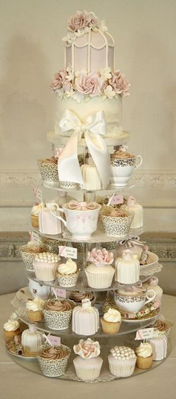 shabby chic wedding cake ideas wedding cake alternatives cupcake tower vintage inspired 19767