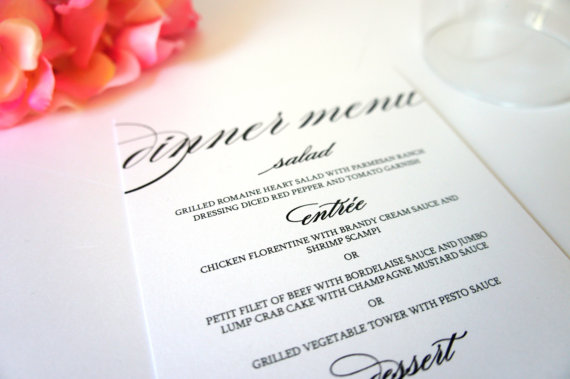 elegant menu cards formal menu card black and white wedding menu