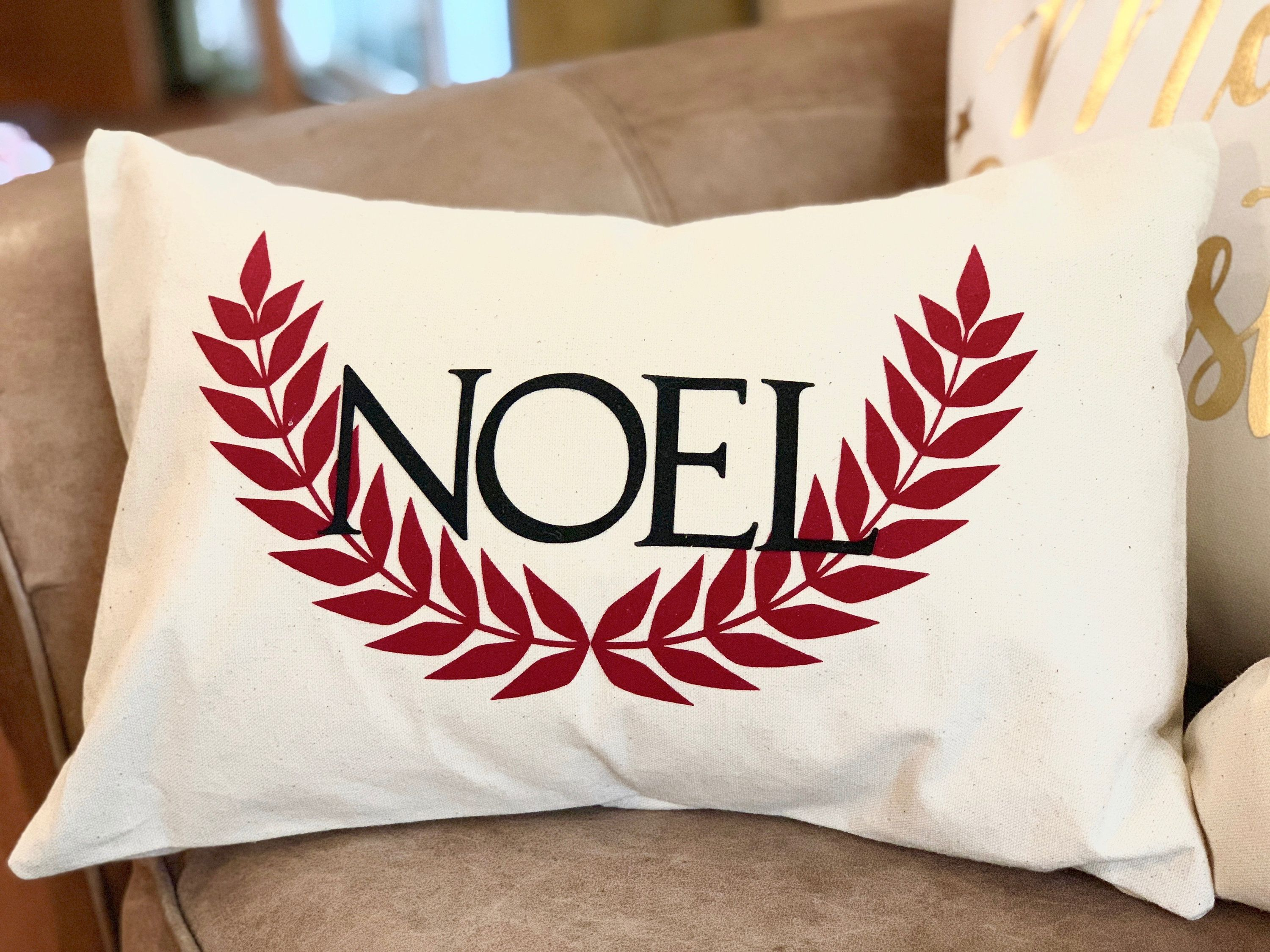 Natural or White Cotton Canvas Holiday NOEL Pillow Cover