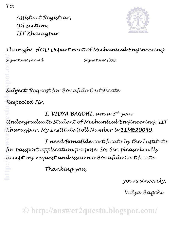 Questions Answers Sample Application For Bonafide Certificate Iit Kharagpur Kharagpur Undergraduate Mechanical Engineering