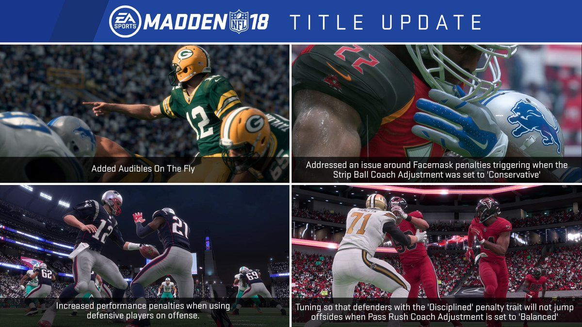 Electronic Arts decided to update Madden NFL 18 after months