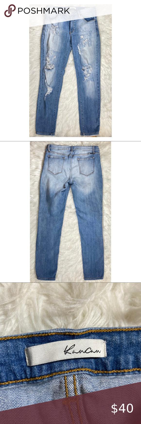 Kancan Distressed Jeans W13 30 Medium Light Wash Denim Jeans Distressed Hole Skinny Jeans Brand Kancan Si Distressed Jeans Washed Denim Jeans Jeans Brands