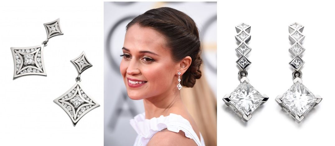 Styling Louis Vuitton earrings, Alicia Vikander could wear anything and look still flawless! Take a look at our Christopher Wharton white gold and diamond  earring sets!