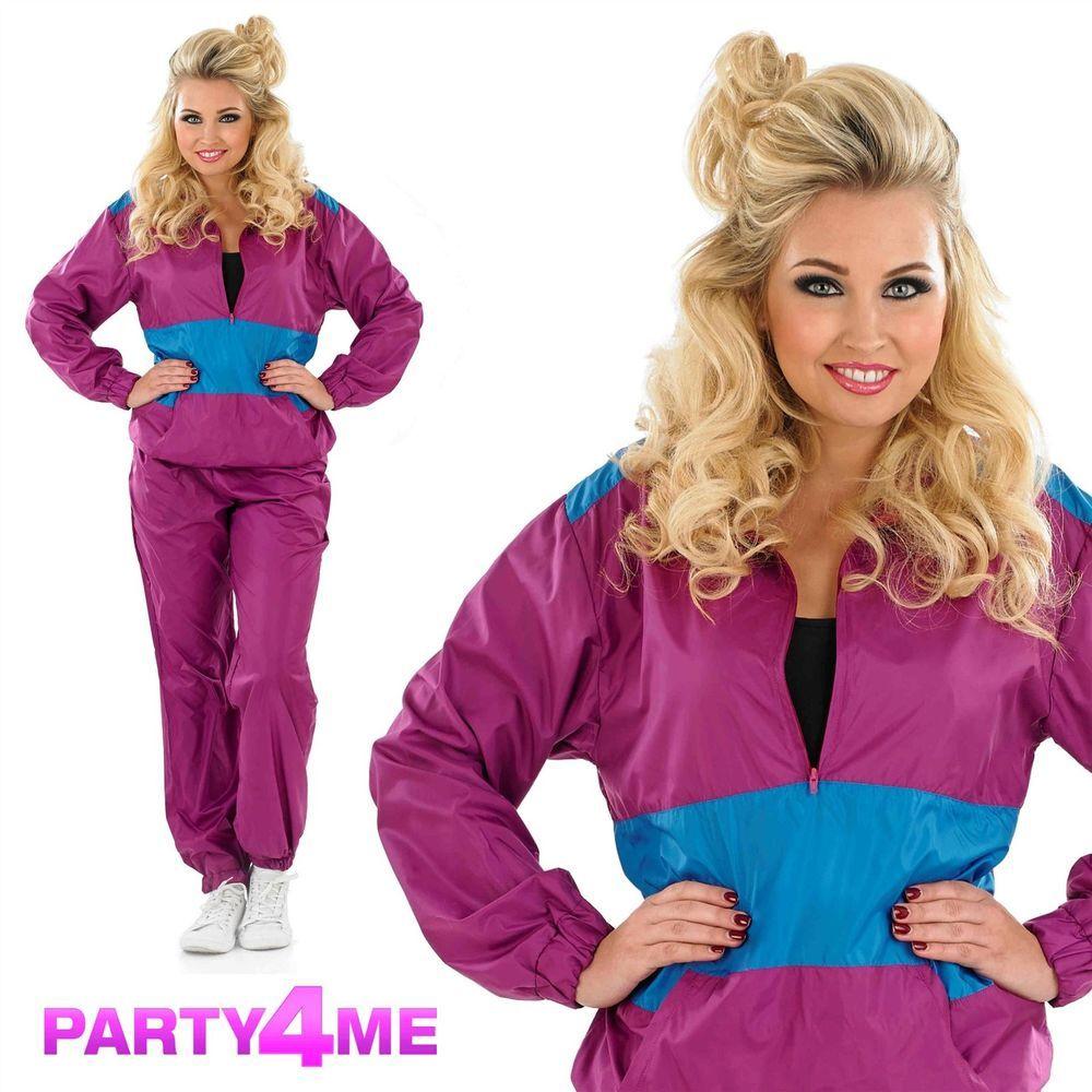 Dress code eighties - Purple Ladies Adult Retro 80s 90s Shell Suit Tracksuit Chav Fancy Dress Costume