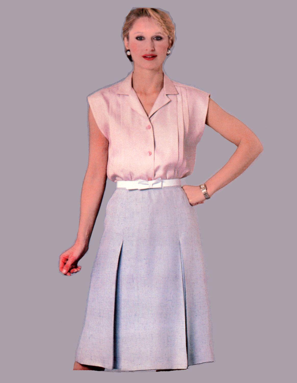 Tuck Blouse Pattern Inverted Pleat Skirt Pattern McCalls 8601 Bust ...