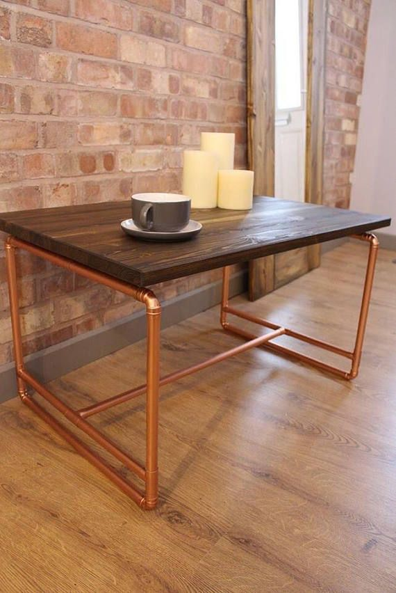 Bespoke Rustic Industrial Handmade Pine and Copper Pipe Coffee Table