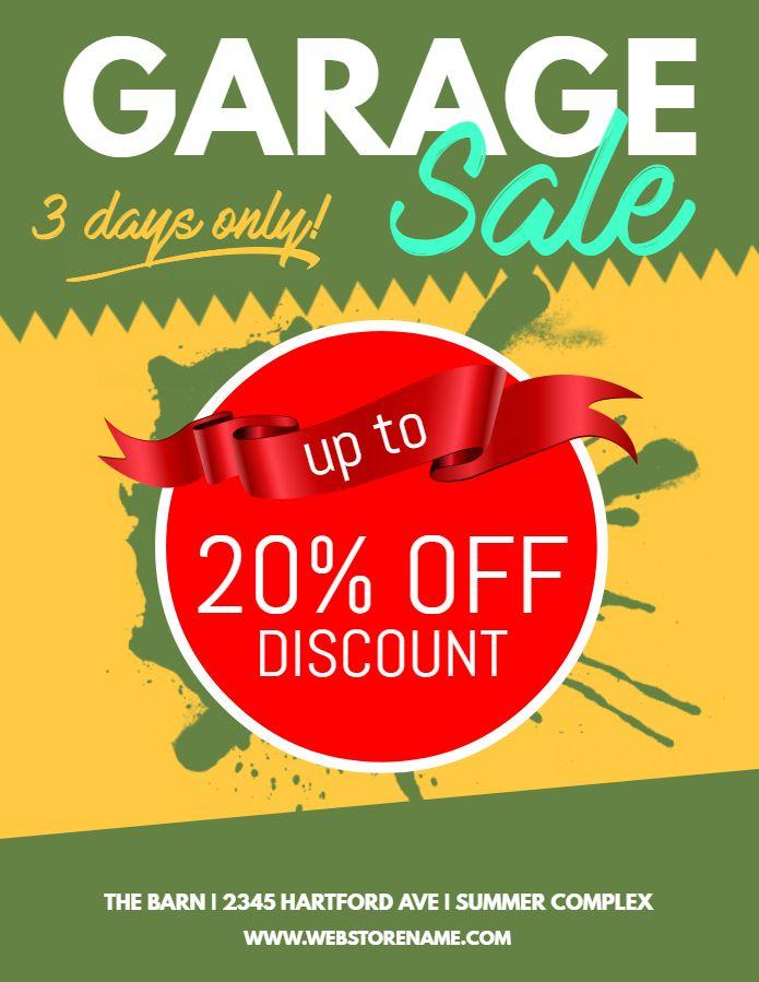 garage sale poster social media design template garage sale
