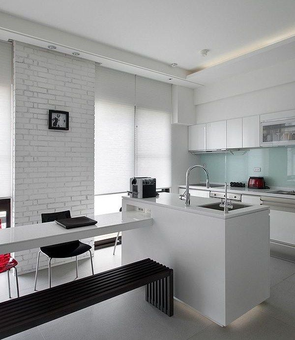 Cocina ladrillo visto blanco buscar con google cocina - Cocinas con ladrillo visto ...