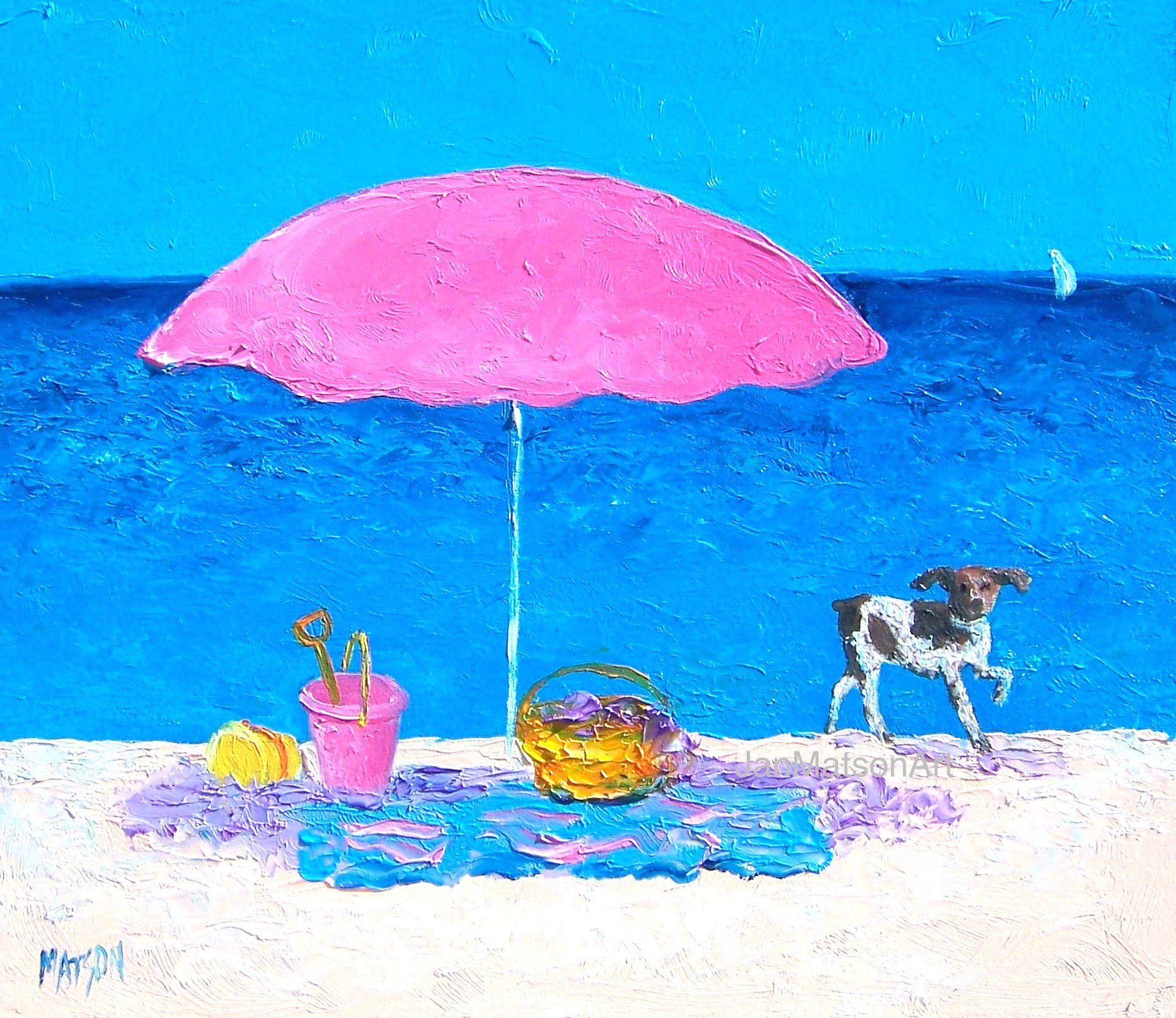 Beach Picnic by Jan Matson in 2021 Beach painting, Beach