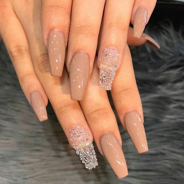 Glitter acrylic nails | Nails, Girls nails, Long nails