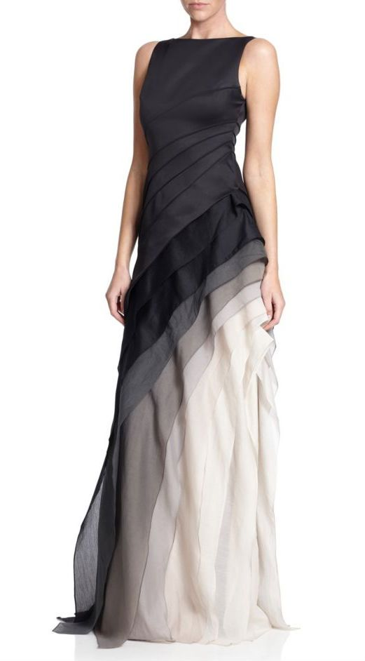 Black gray and white ombre dresses