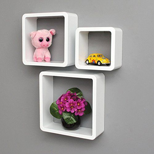 Amazon Com Uniifurn Square Wall Shelves Rounded Corner Set Of 3 White Shelves Lounge Cube Round Corner