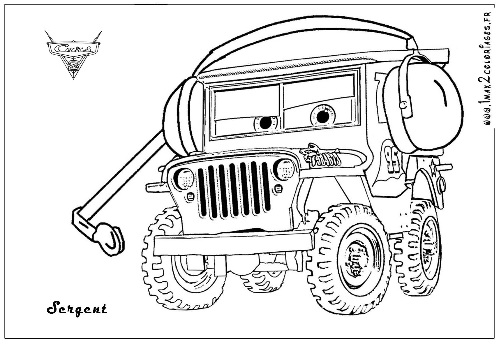 Sarge The World War II Jeep From Movie Cars With His Headset On
