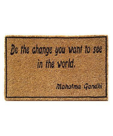 Brown 'Be the Change' Handwoven Doormat