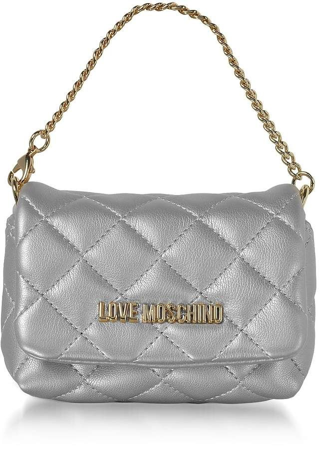 3c6ed7983e772 Love Moschino Mini Bag Silver Eco-leather Clutch | Products | Bags ...