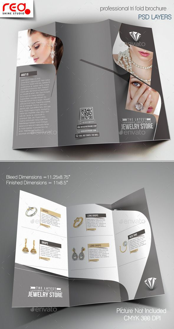 Jewelry Store Trifold Brochure Template Corporate Brochure - Trifold brochure template psd