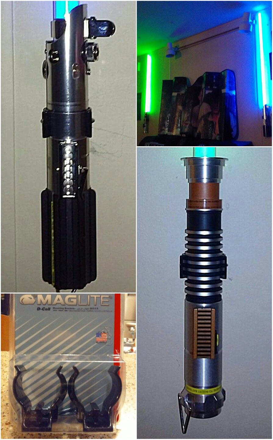 The Perfect Way To Hang Your Hasbro Black Series Master Replicas Or Custom Lightsabers D Cell Maglite Diy Lightsaber Star Wars Light Saber Star Wars Office