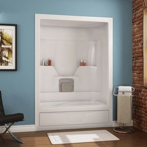 60 Quot 3 Piece White Acrylic Left Hand Tub And Shower Maax