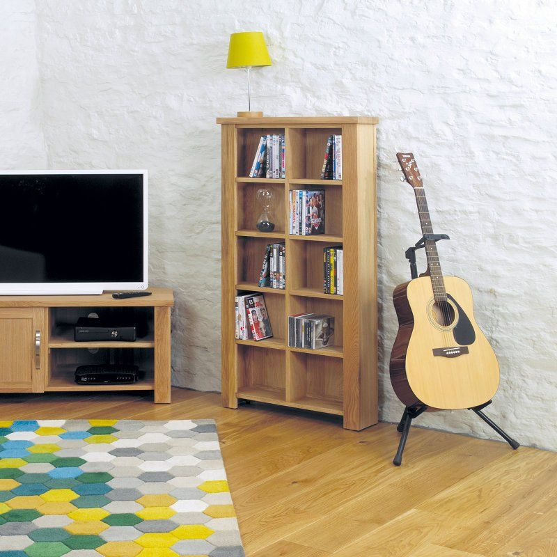 aston solid oak hidden. Aston Solid Oak DVD/CD Storage Unit - Baumhaus Hidden W