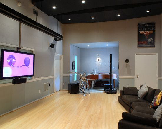 Inspiring Home Recording Studio Design: Awesome Home Recording Studio Design  Idea With Hanging TVu0027s And