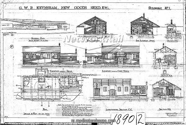 G.W.R Keynsham Drawing no.1 - New Goods Shed etc - general plan, elevations and sections - Photo Prints - 10647922 - Network Rail