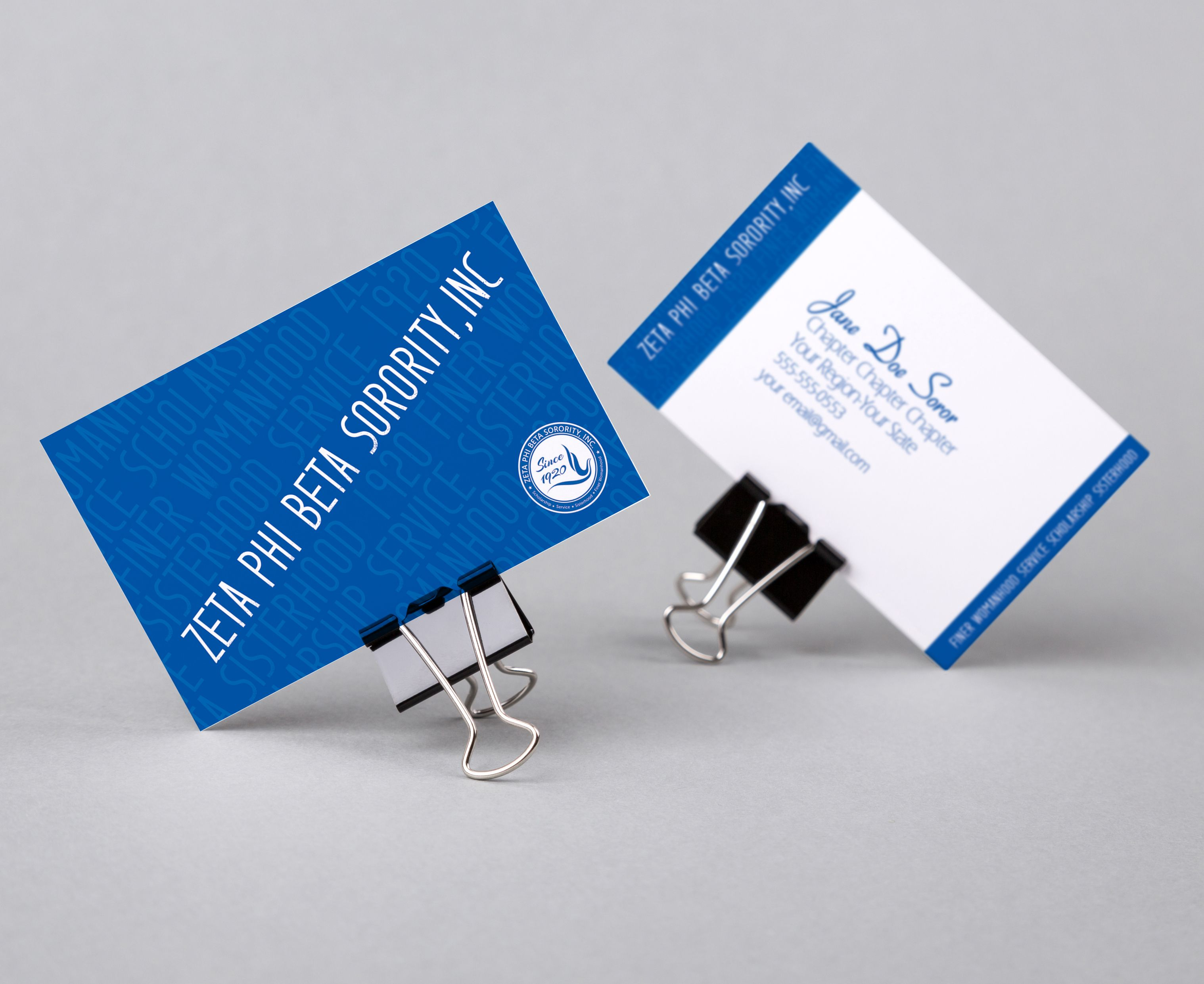zeta phi beta principles business card love your business card