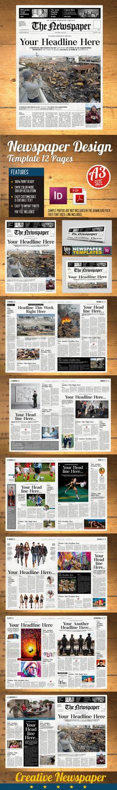 Newspaper 12 Page Template Vol2 Indesign Newspaper Template